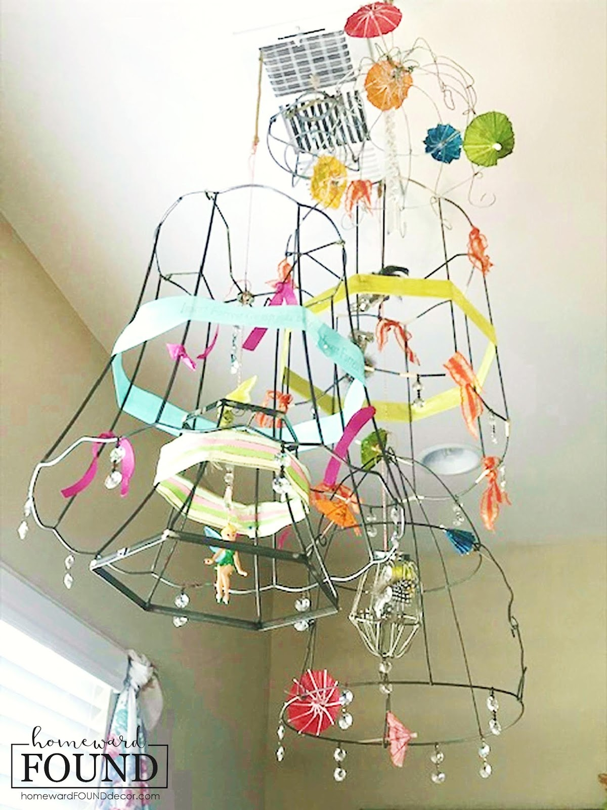Wire lampshade mobile by Homeward Found, featured on DIY Salvaged Junk Projects 535 on Funky Junk!