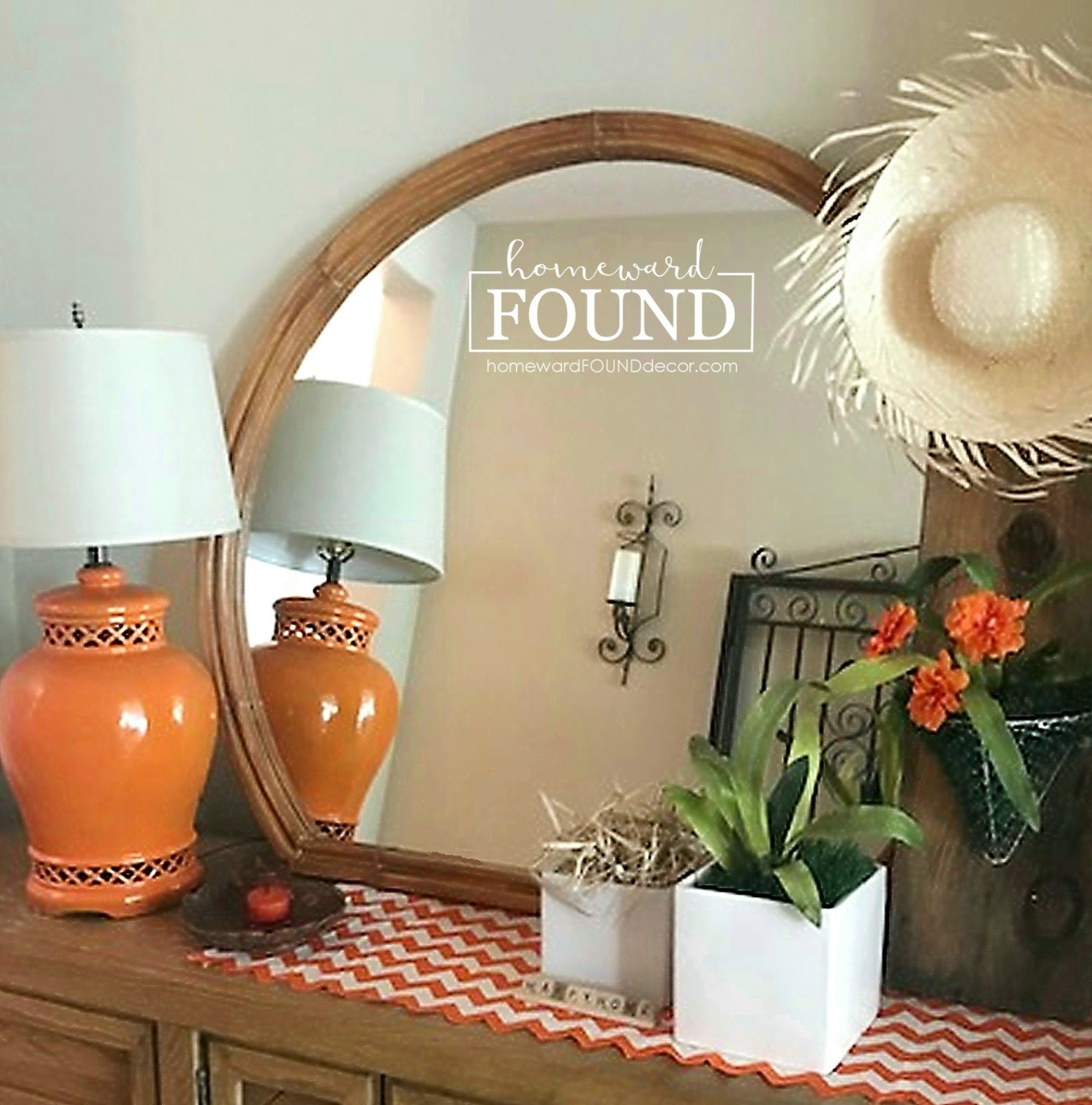 Faux bamboo mirror by Homeward Found, featured on DIY Salvaged Junk Projects 538 on Funky Junk!