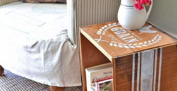 farmhouse crate side table by Lora B