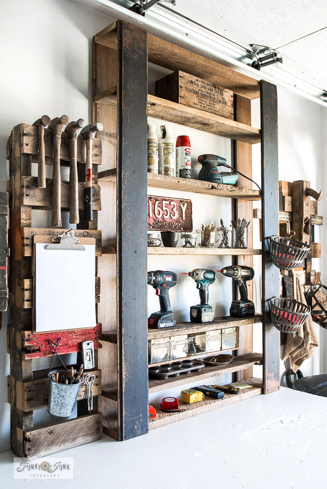 DIY pallet-style tool shelf by Funky Junk Interiors