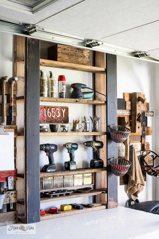Learn how to build a free and easy DIY pallet-style tool shelf to store or organize anything desired! Click for the full tutorial to learn more. #workshop #tools #storage #shelving