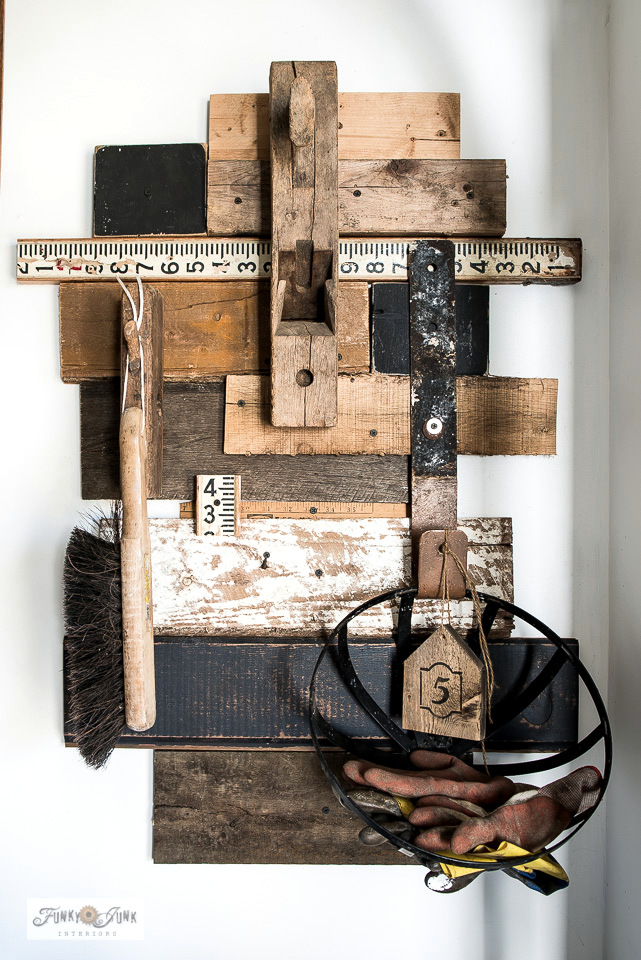 Learn how to build this stacked reclaimed wood hooks for workshop storage, with a wire basket for rags and work gloves. #workshop #storage #reclaimedwood #hooks
