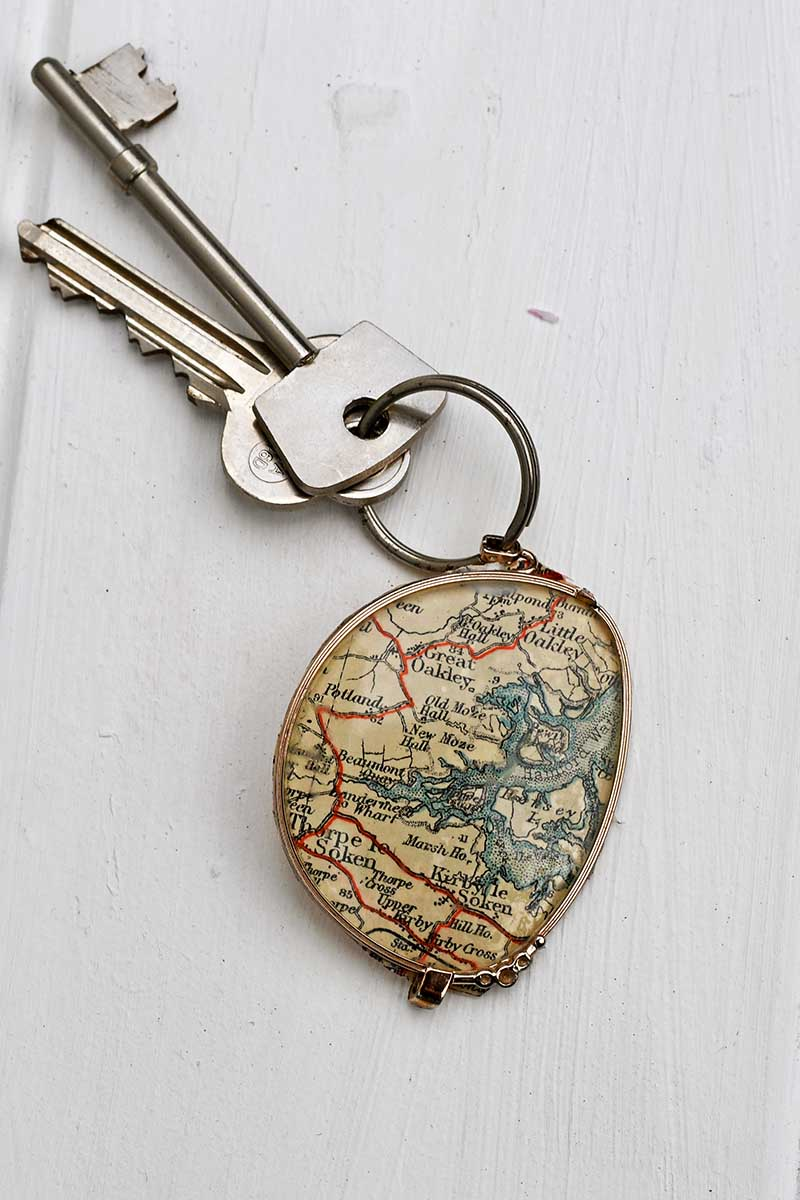 Eye glasses and map key fob or necklace by Pillar Box Blue, featured on DIY Salvaged Junk Projects 538 on Funky Junk!