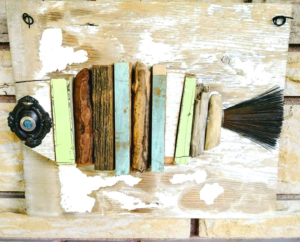 Junky scrap wood fish by Junky Encores, featured on DIY Salvaged Junk Projects 535 on Funky Junk!
