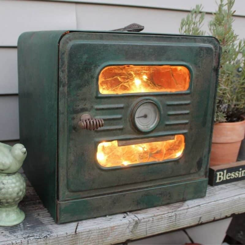 Up-cycled hobo oven light by Adirondack Girl At Heart, featured on DIY Salvaged Junk Projects 538 on Funky Junk!
