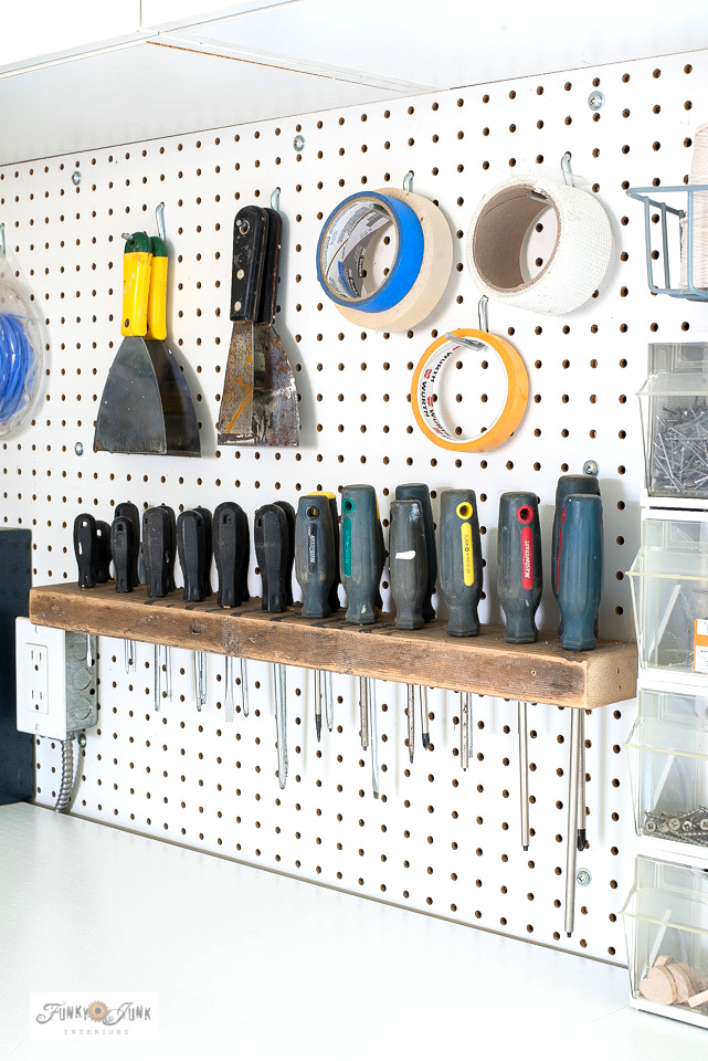 DIY wood screwdriver organizer by Funky Junk Interiors