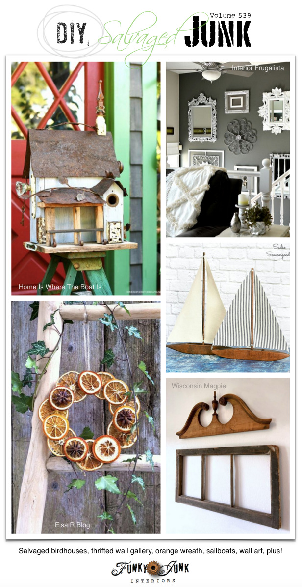 Visit 20+ NEW DIY Salvaged Junk Projects 539 - Salvaged birdhouses, thrifted wall gallery, orange wreath, sailboats, wall art, plus! Up-cycled projects link party on Funky Junk! #upcycled #repurposed #diy #projects