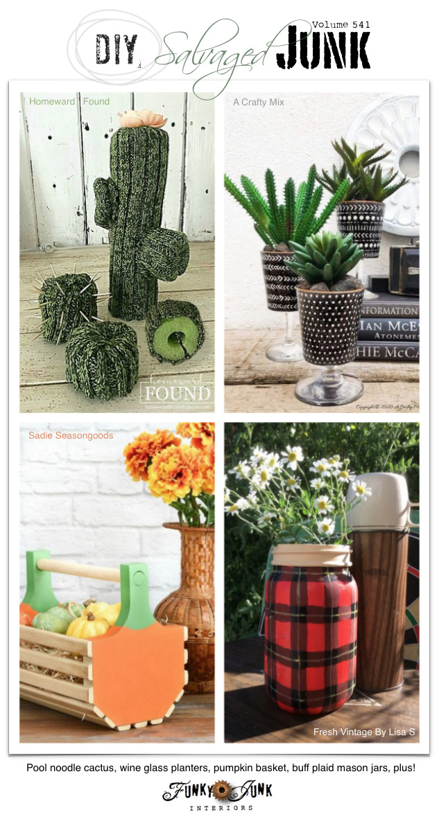 Learn how to make 20+ NEW DIY Salvaged Junk Projects 541 - Pool noodle cactus, wine glass planters, pumpkin basket, buff plaid mason jars, plus! Up-cycled projects and link party. Click to visit all the tutorials and join in with your own! #linkparties #upcycle #projects