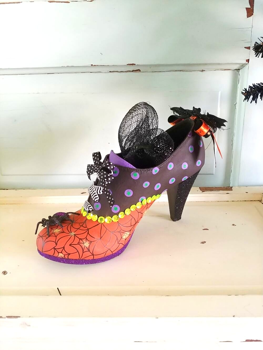DIY Witches Boot by Little Vintage Cottage, featured on DIY Salvaged Junk Projects 542 on Funky Junk!