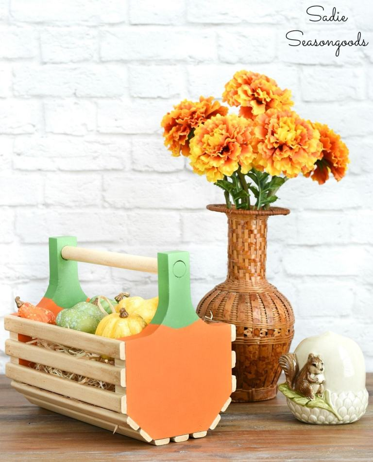 Clam hod pumpkin basket by Sadie Seasongoods, featured on DIY Salvaged Junk Projects 541 on Funky Junk!