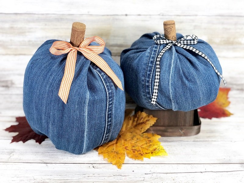 No sew fall denim pumpkins by Creatively Beth, featured on DIY Salvaged Junk Projects 542 on Funky Junk!