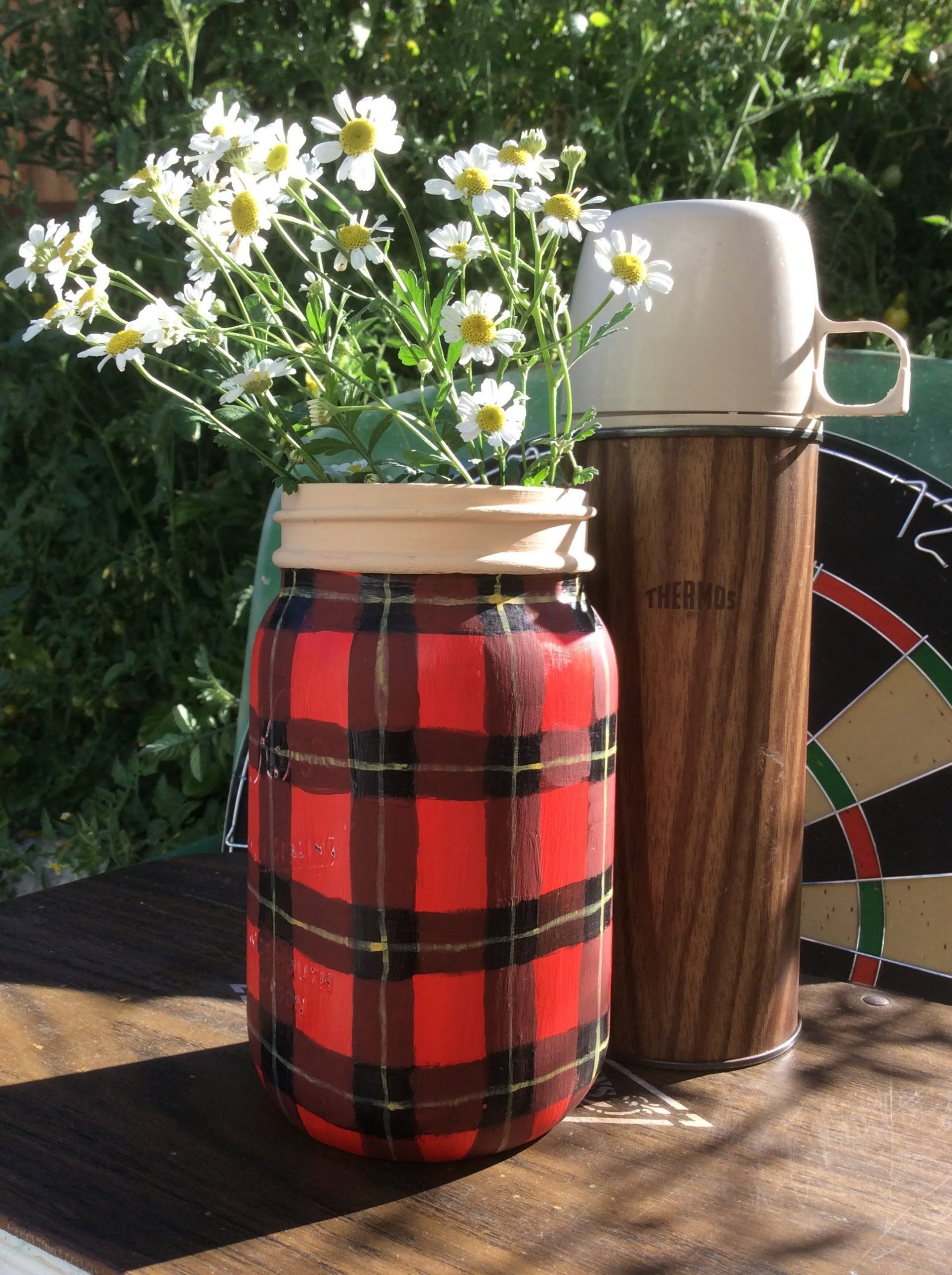 Buffalo Checked mason jar vase thermos by Fresh Vintage by Lisa S, featured on DIY Salvaged Junk Projects 541 on Funky Junk!