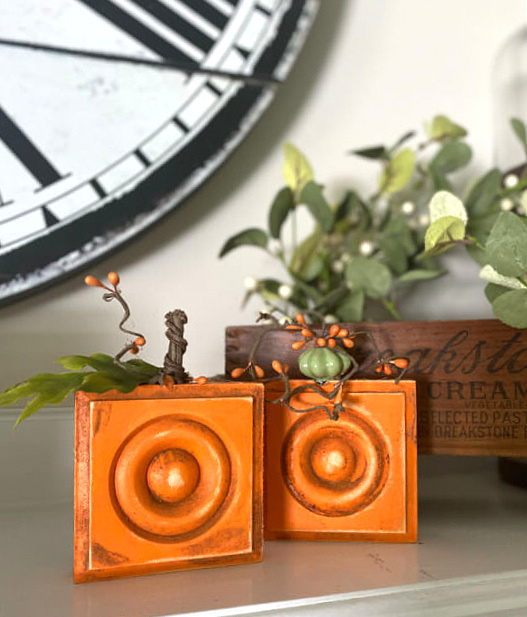 Rosette block cinnamon pumpkins by Homeroad, featured on DIY Salvaged Junk Projects 542 on Funky Junk!