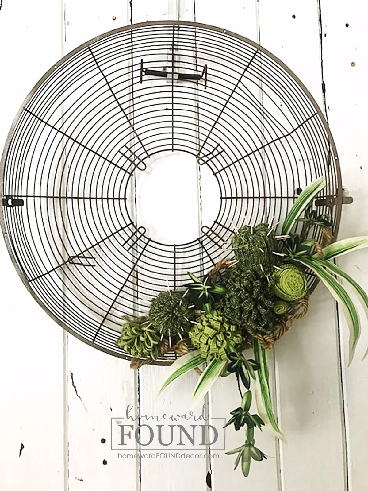 Fan cover faux succulent wreath by Homeward Found, featured on DIY Salvaged Junk Projects 540 on Funky Junk!