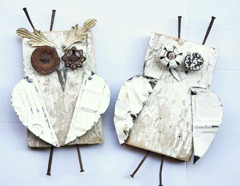 Salvaged architecture junk owls by Junk Encores, featured on DIY Salvaged Junk Projects 540 on Funky Junk!