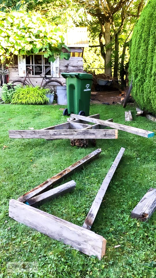 Repairing a rustic garden shed with demo tips. Desire to save a shed too? Here's how I'm doing it! Click for full story loaded with helpful demo tips! #shed #sheshed #demoday #gardenshed