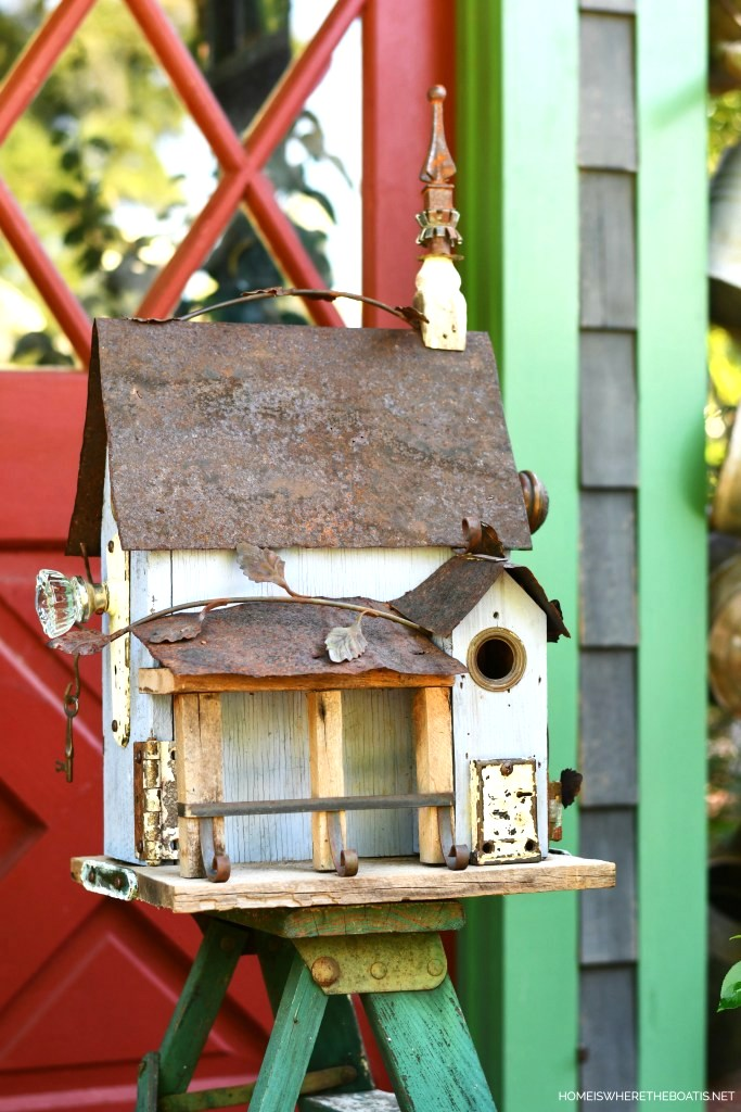 Adding salvaged details to birdhouses by Home Is Where The Boat Is, featured on DIY Salvaged Junk Projects 539 on Funky Junk!