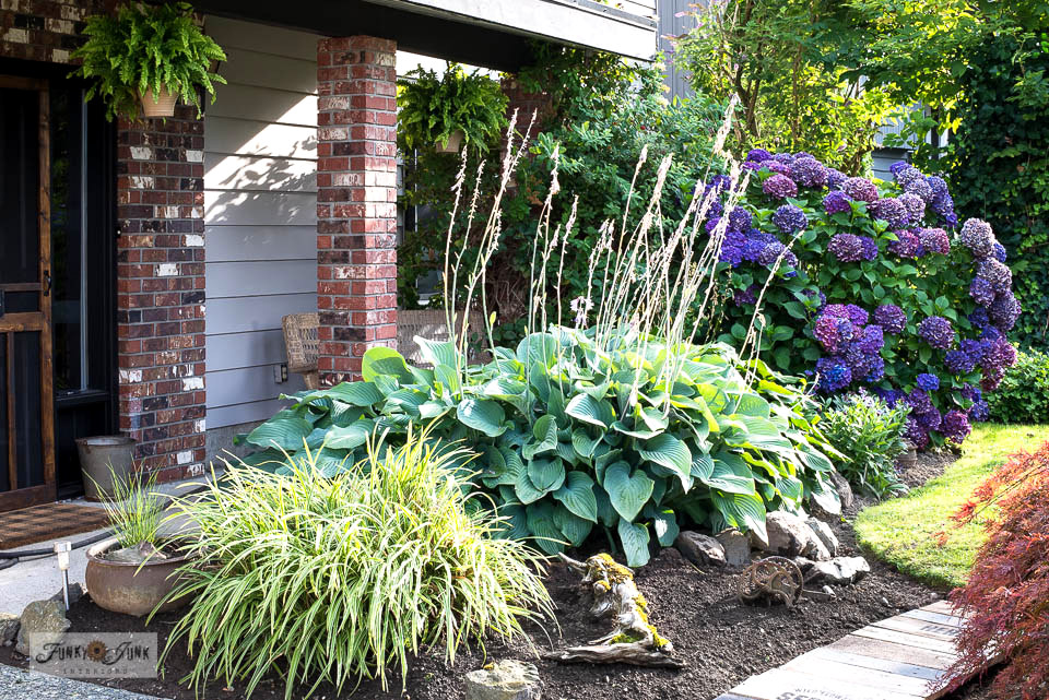 Large, established grass plant, hostas and hydrangea bush in a front yard flowerbed. Click to take the full tour! #gardening