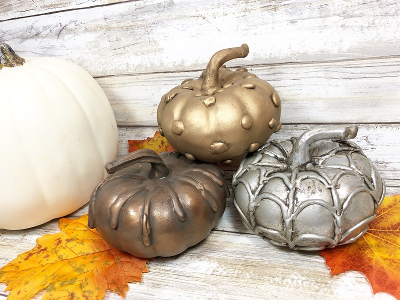 Dollar store hot glue pumpkins by Creatively Beth, featured on DIY Salvaged Junk Projects 544 on Funky Junk!