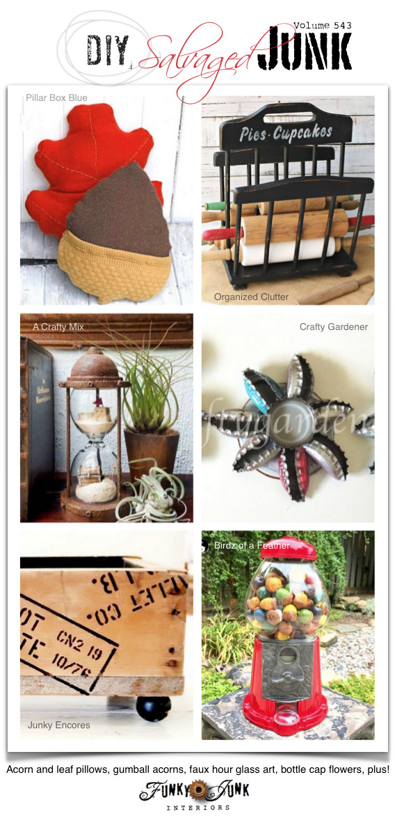 Visit 20+ NEW DIY Salvaged Junk Projects 543 - Acorn and leaf pillows, gumball acorns, faux hour glass art, bottle cap flowers, plus! Up-cycled projects with link party complete with tutorials on Funky Junk. Join in!