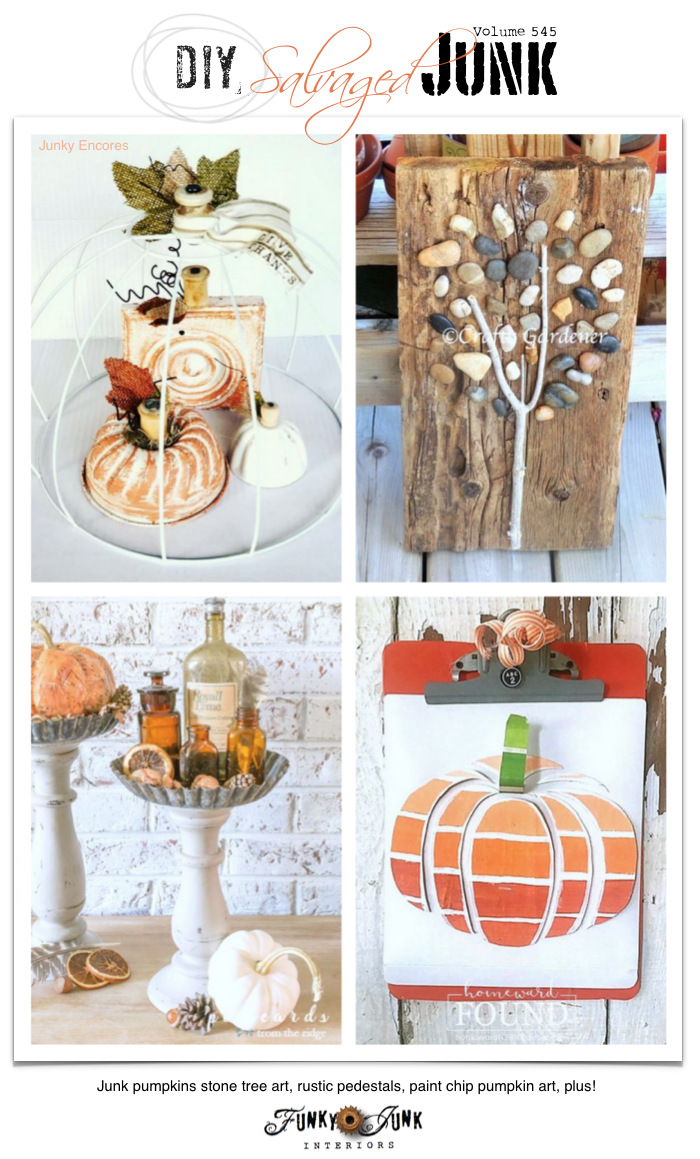 Visit 20+ NEW DIY Salvaged Junk Projects 545 - Junk pumpkins stone tree art, rustic pedestals, paint chip pumpkin art, plus! Learn how to make these up-cycled projects and join the link party! Click to full tutorials.