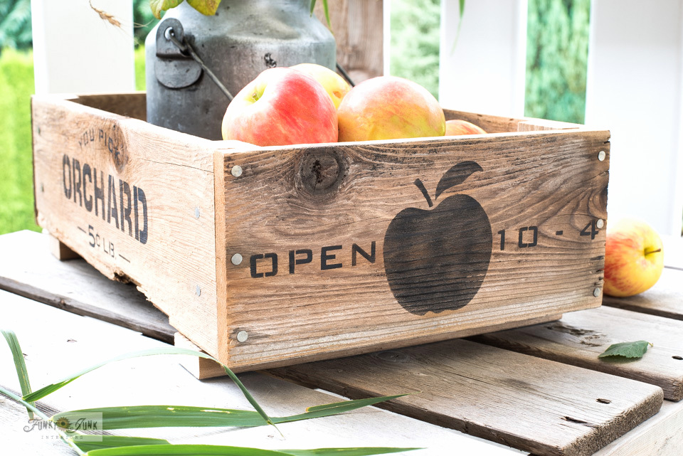 Learn how to build and stencil this DIY wood fruit crate for fall decorating! Featuring You Pick Orchard stencil from Funky Junk's Old Sign Stencils. Click to full tutorial.