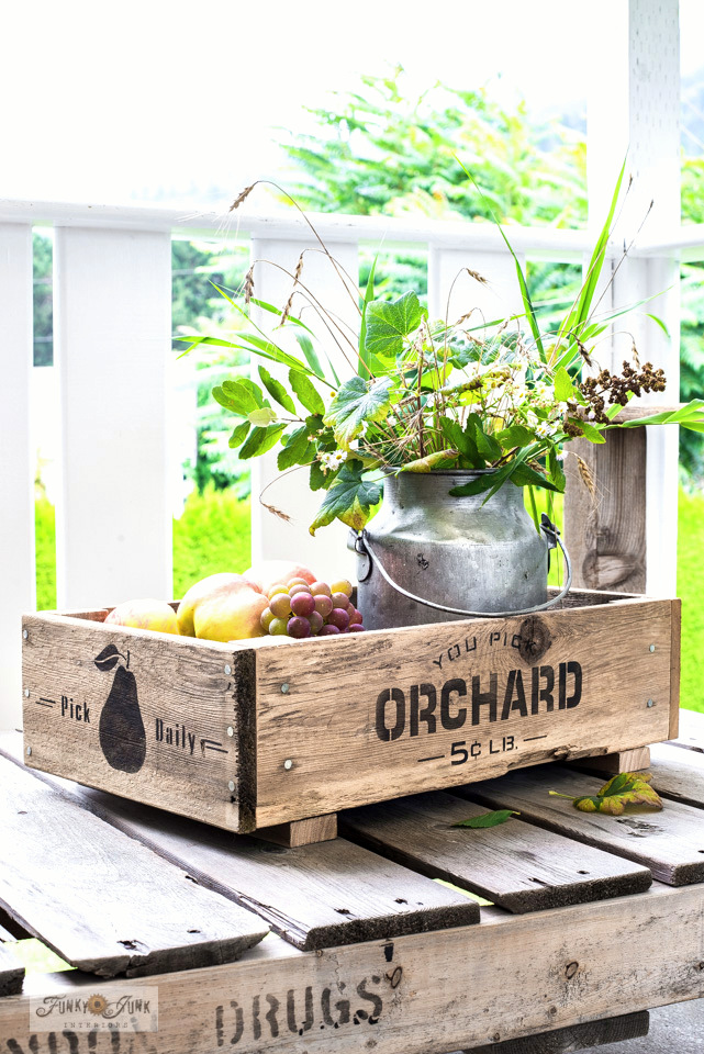 DIY fruit crate fall centrepiece and fruit bowl by Funky Junk Interiors