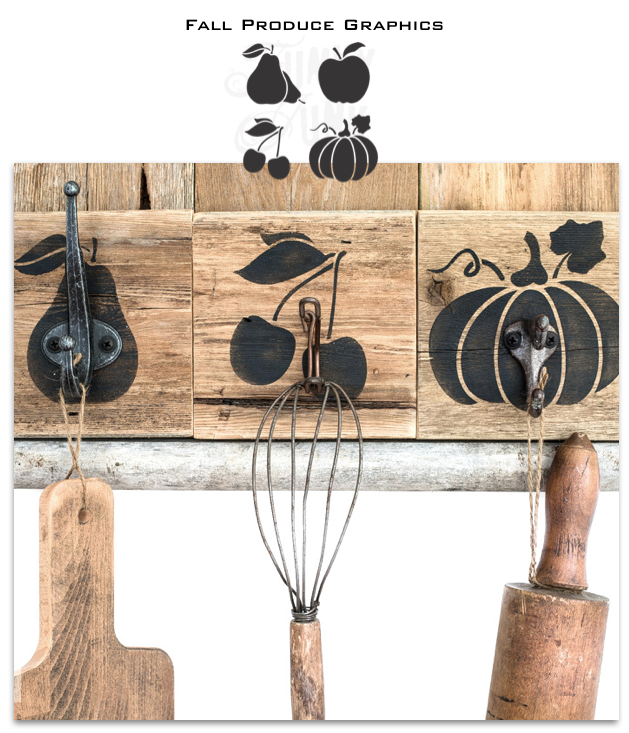 Click HERE to shop for the Fall Produce graphics fall stencil from Funky Junk's Old Sign Stencils!