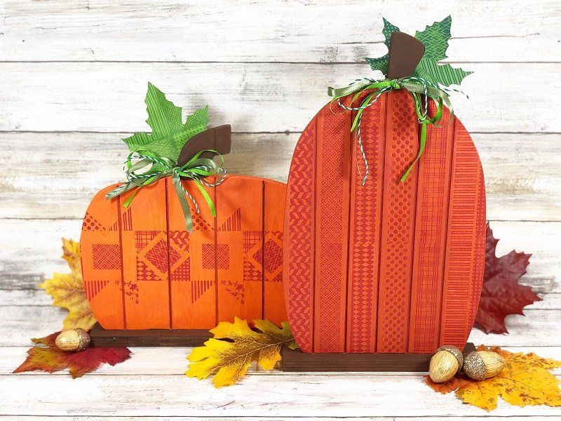 Faux quilted fall pallet pumpkins by Creatively Beth, featured on DIY Salvaged Junk Projects 546 on Funky Junk!