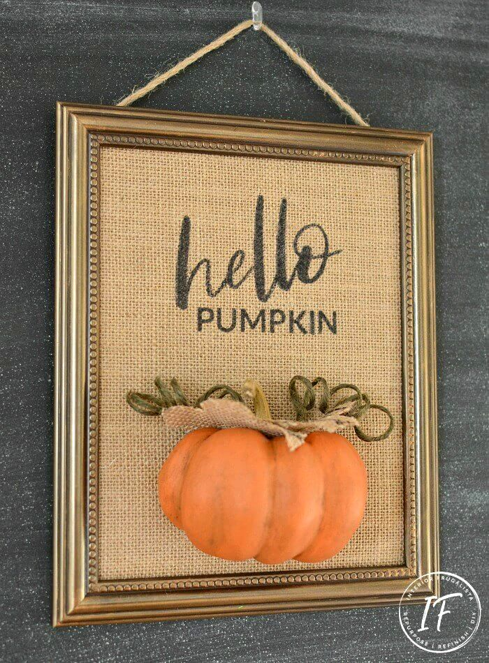 Dollar store framed pumpkin sign by Interior Frugalista, featured on DIY Salvaged Junk Projects 544 on Funky Junk!