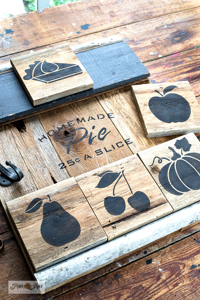 Learn how to create this charming rustic reclaimed wood homemade fruit pie sign… with choices! Featuring Homemade Pumpkin Pie and Fall Produce Graphics fall stencils from Funky Junk's Old Sign Stencils. Click to full tutorial and stencil sources.