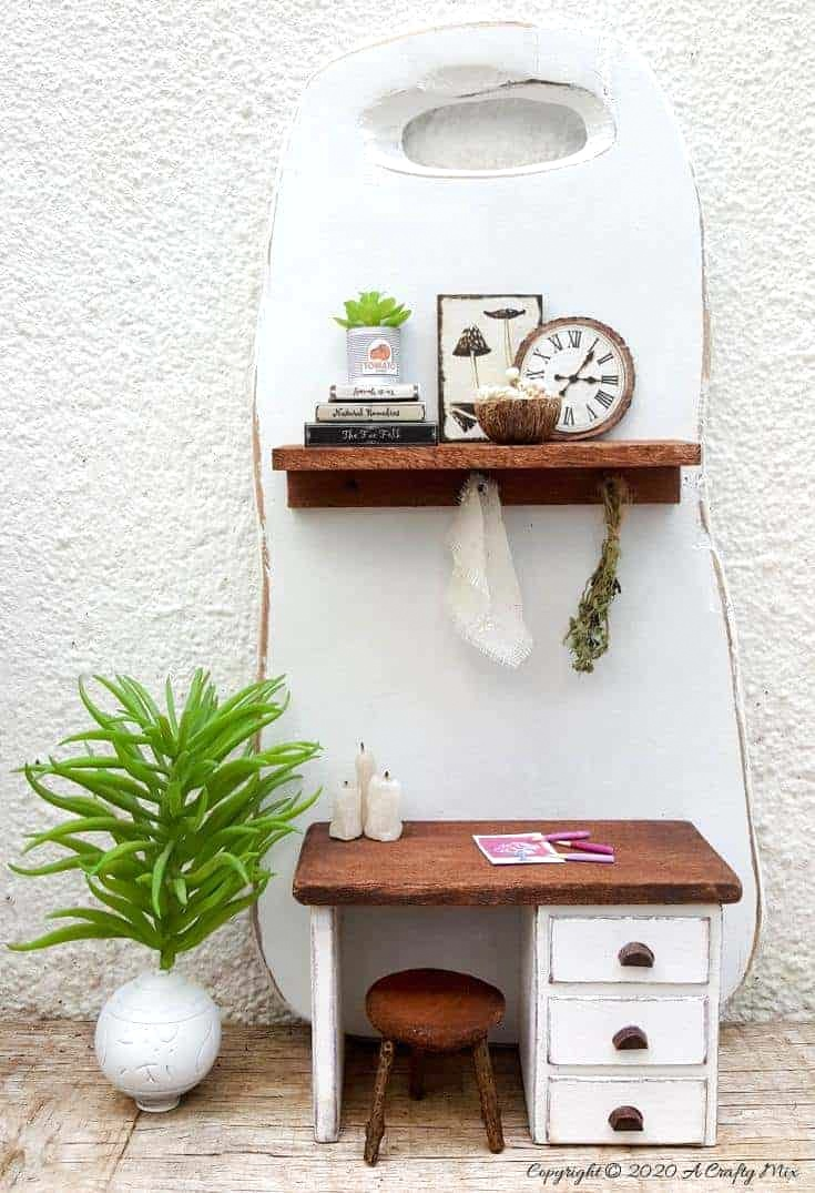 Cutting board miniature office by A Crafty Mix, featured on DIY Salvaged Junk Projects 546 on Funky Junk!