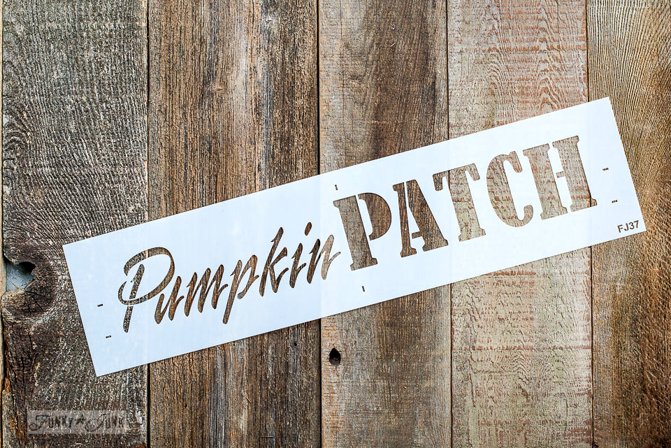 Learn how to stencil and build a wood fall directional sign with Pumpkin Patch by Funky Junk's Old Sign Stencils.