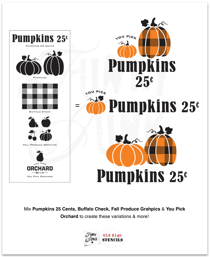 How to mix and match Pumpkins 25 Cents fall stencil by Funky Junk's Old Sign Stencils to create these charming various designs! Click to full tutorial with store link.