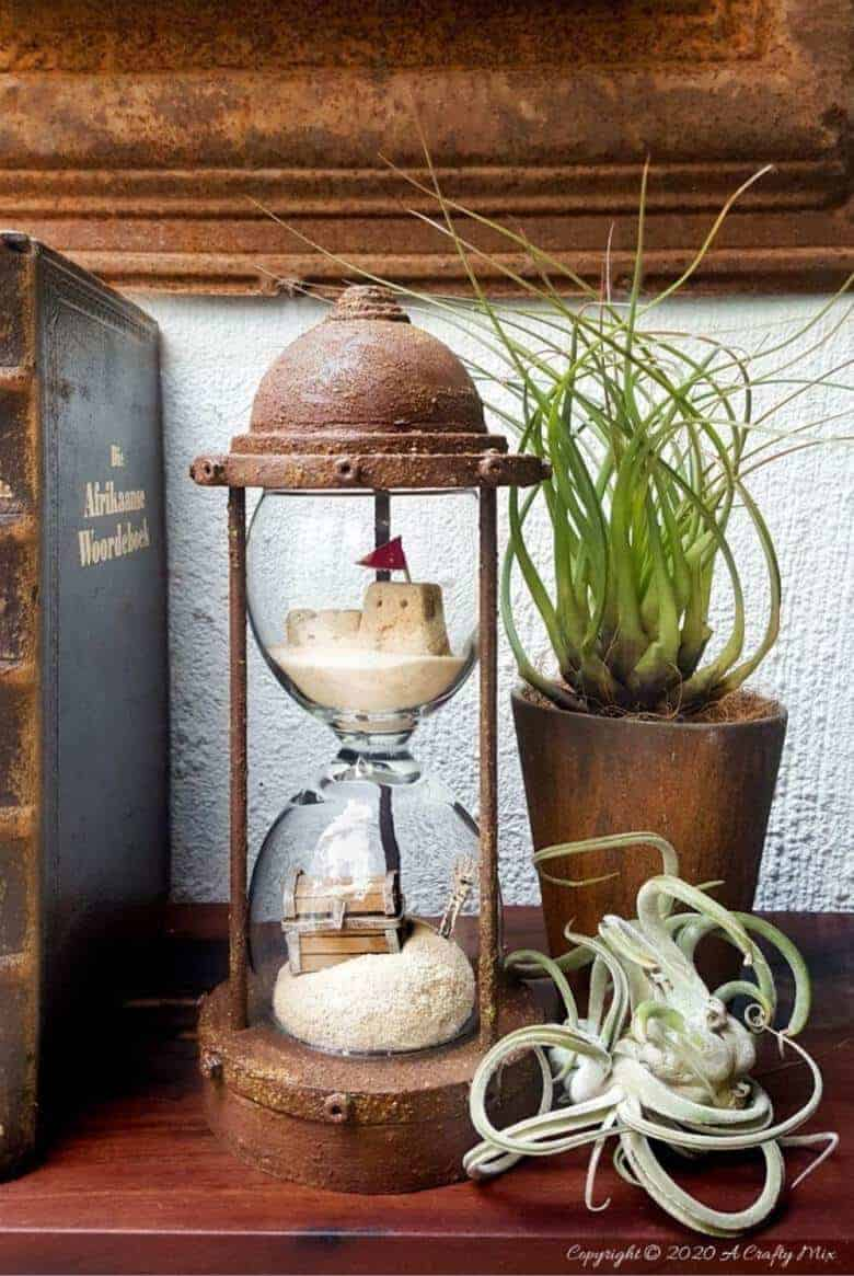 Wine Glass Hourglass art by A Crafty Mix featured on DIY Salvaged Junk Projects 543 on Funky Junk!