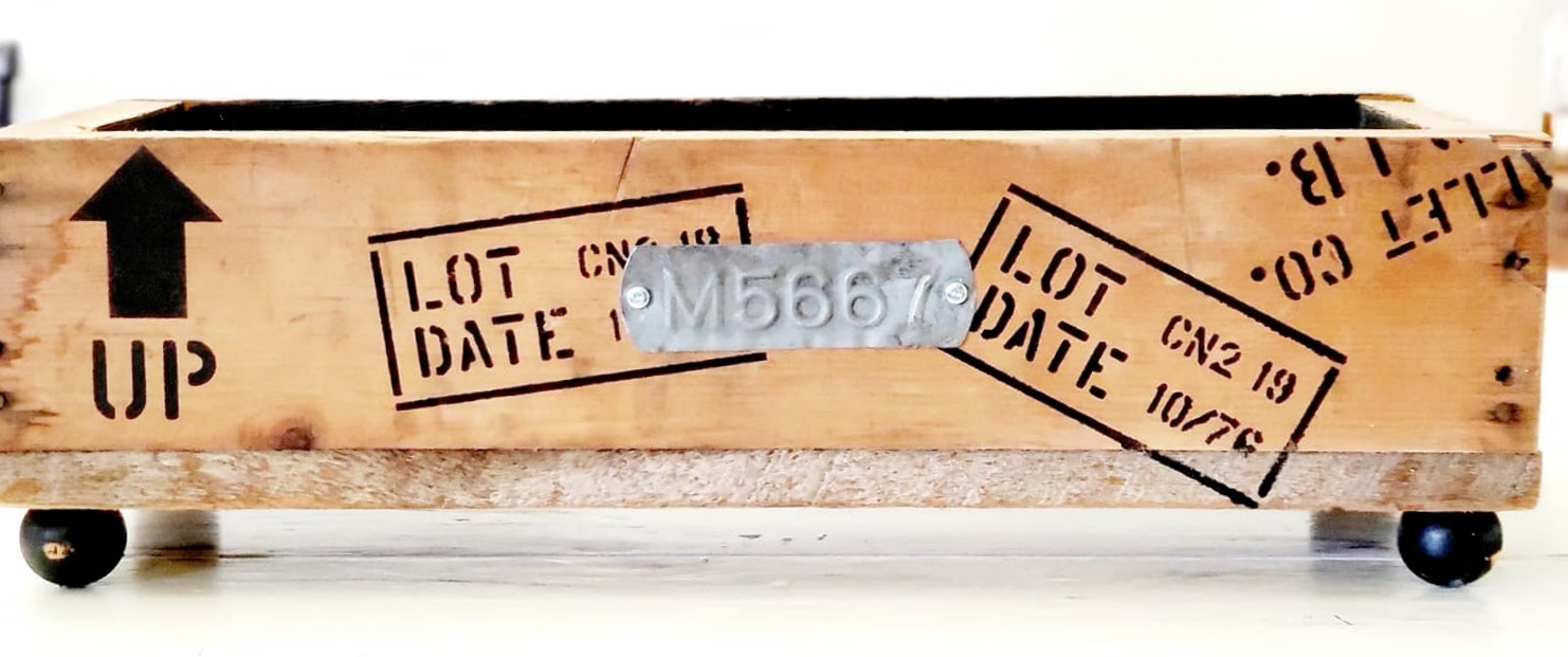 Rustic crates with rustic markings by Junky Encores, featured on DIY Salvaged Junk Projects 543 on Funky Junk!