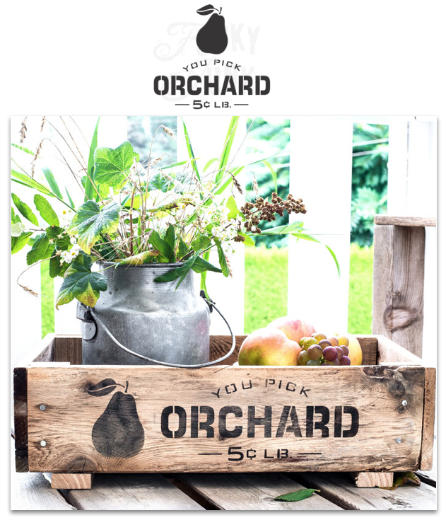 You Pick Orchard fall stencil from Funky Junk's Old Sign Stencils