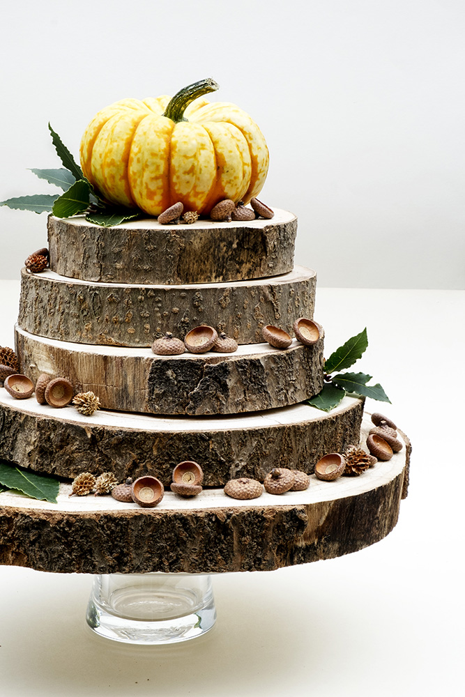 Autumn wood cake decoration by Elsa R Blog, featured on DIY Salvaged Junk Projects 546 on Funky Junk!