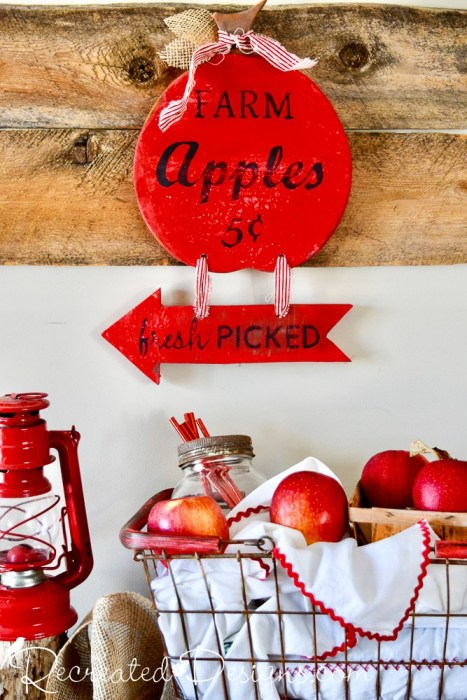 Cutting board fall apple sign by Recreated Designs, featured on DIY Salvaged Junk Projects 544 on Funky Junk!