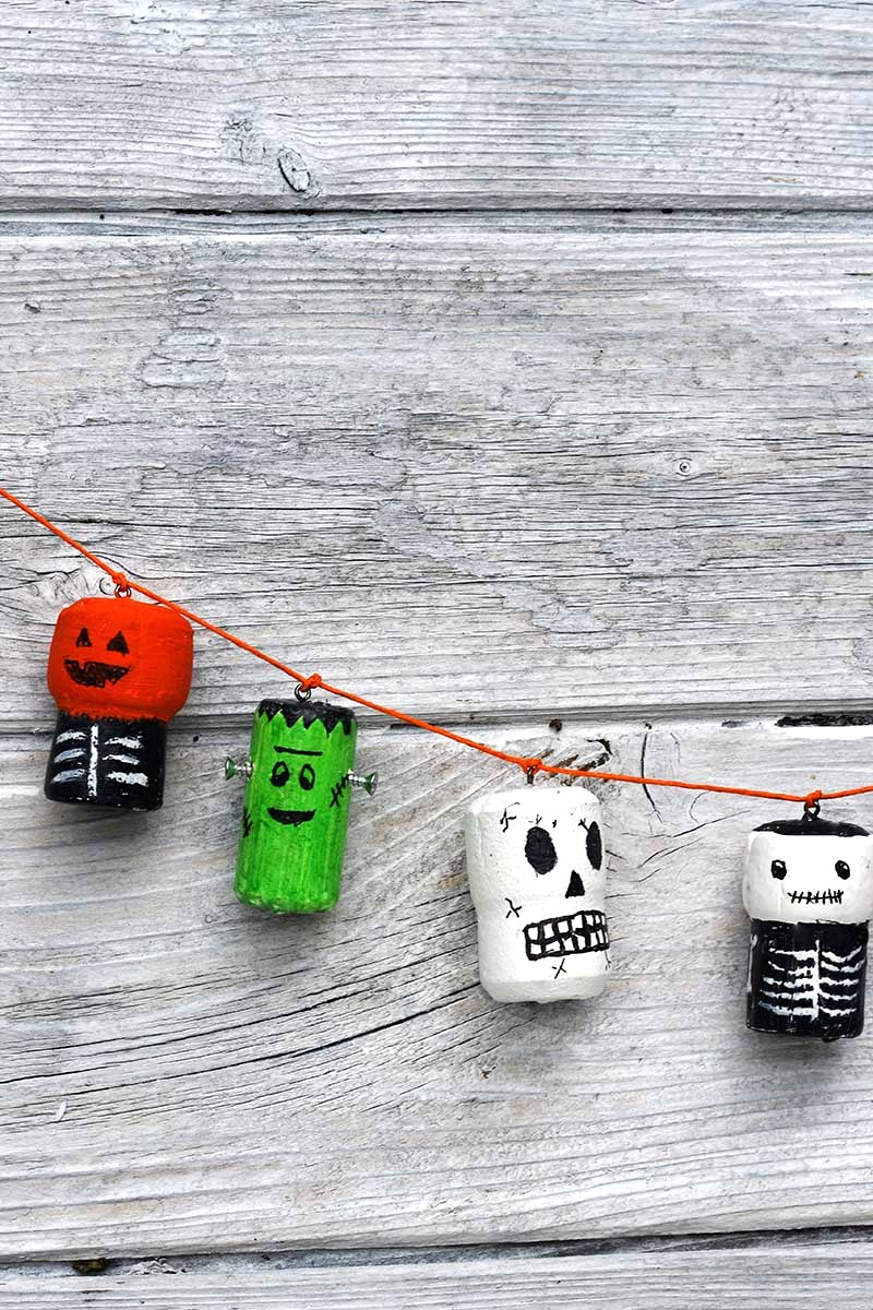 Wine cork Halloween characters banner by Pillar Box Blue, featured on DIY Salvaged Junk Projects 544 on Funky Junk!