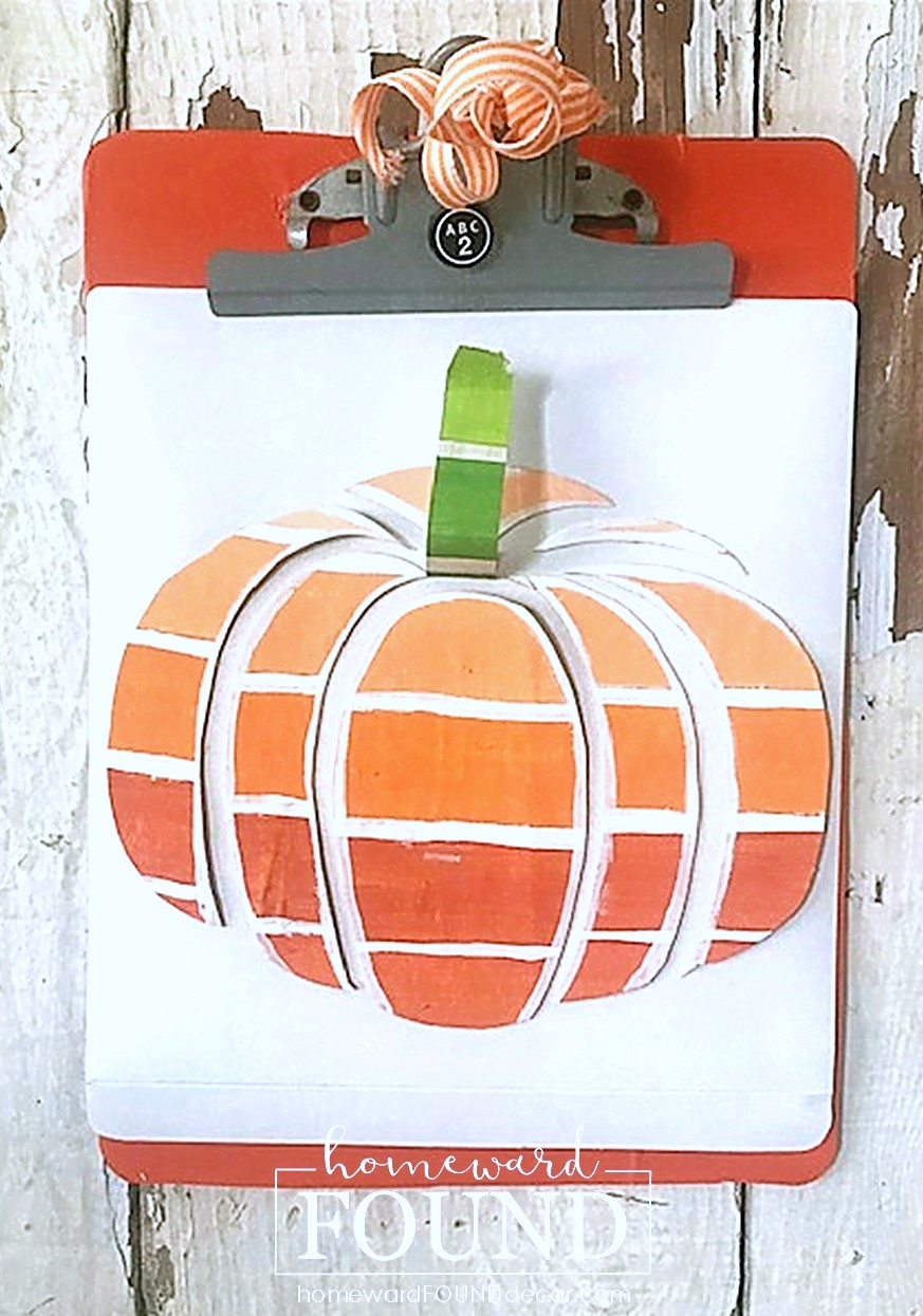 Paint chip fall pumpkin art by Homeward Found Decor, featured on DIY Salvaged Junk Projects 545 on Funky Junk!