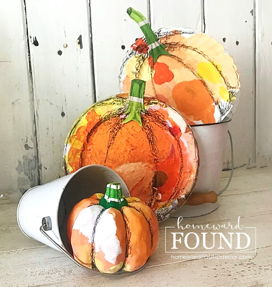 Hand painted pumpkins by Homeward Found, featured on DIY Salvaged Junk Projects 544 on Funky Junk!