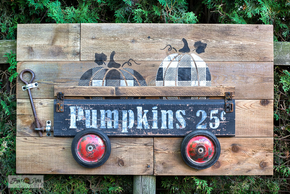 Learn how to create this charming Buffalo Checked Pumpkins in a rustic wagon fall sign with Funky Junk's Old Sign Stencils!
