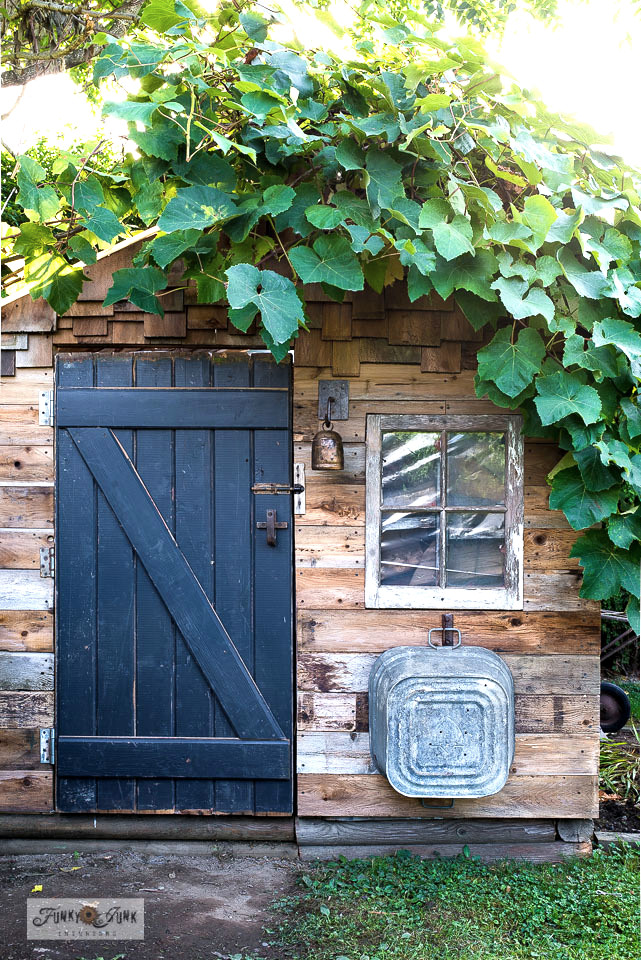 shed black barn door with rusty junk hardware