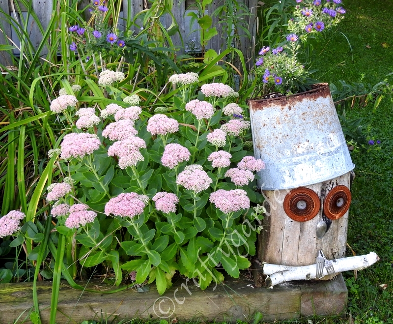 Rustic log owl garden art by Crafty Gardener, featured on DIY Salvaged Junk Projects 546 on Funky Junk!