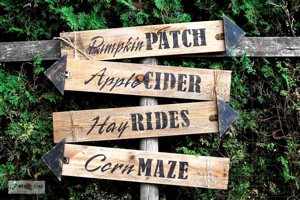 Learn how to build and stencil these 4 easy wood fall directional arrow signs! Includes Pumpkin Patch, Corn Maze, Apple Cider and Hay Rides made with Funky Junk's Old Sign Stencils. Click to the full tutorial plus helpful video how-to!