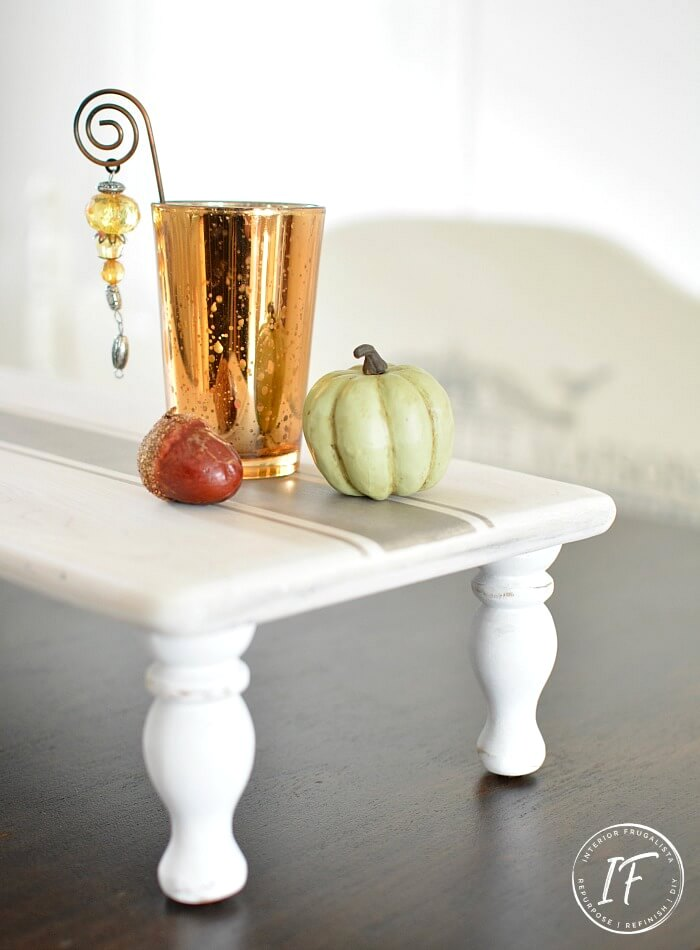 Grain sack striped wood table riser by Interior Frugalista, featured on DIY Salvaged Junk Projects 546 on Funky Junk!