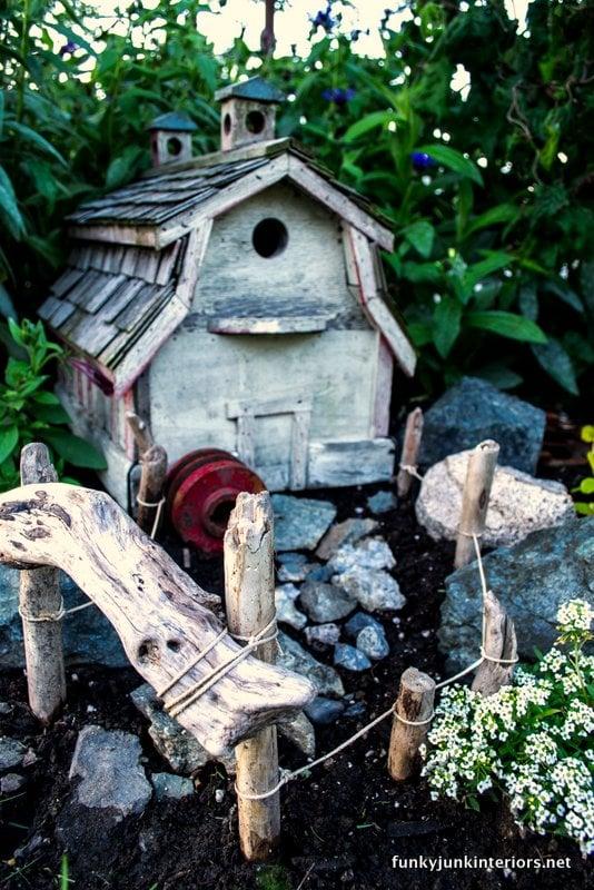 Barn birdhouse fairy garden