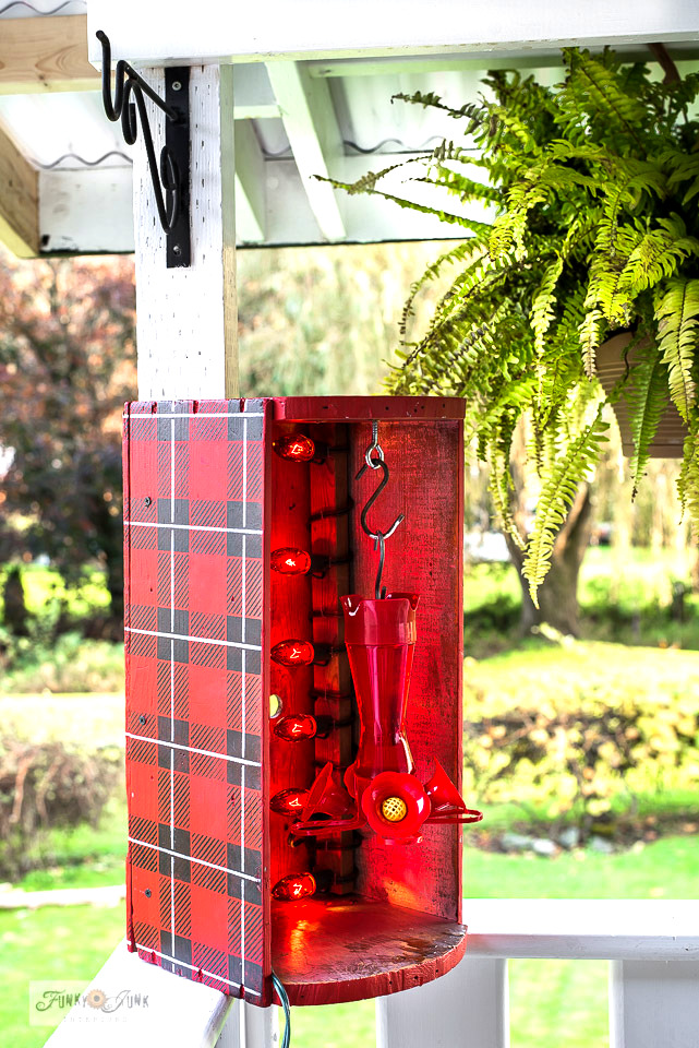 Buffalo Checked hummingbird feeder heater crate by Funky Junk Interiors
