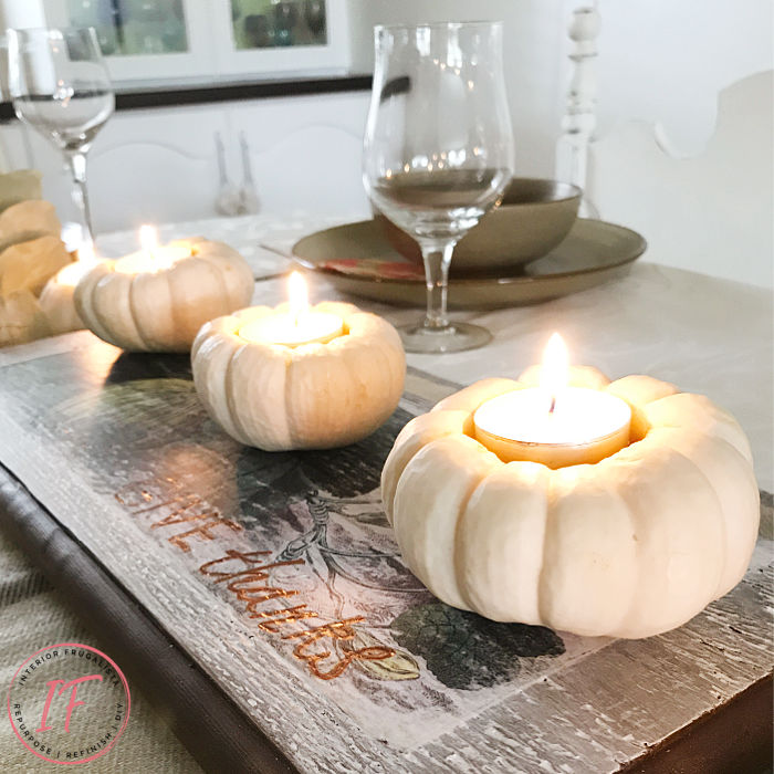 Pumpkin tea light votives by Interior Frugalista, featured on DIY Salvaged Junk Projects 550 on Funky Junk!